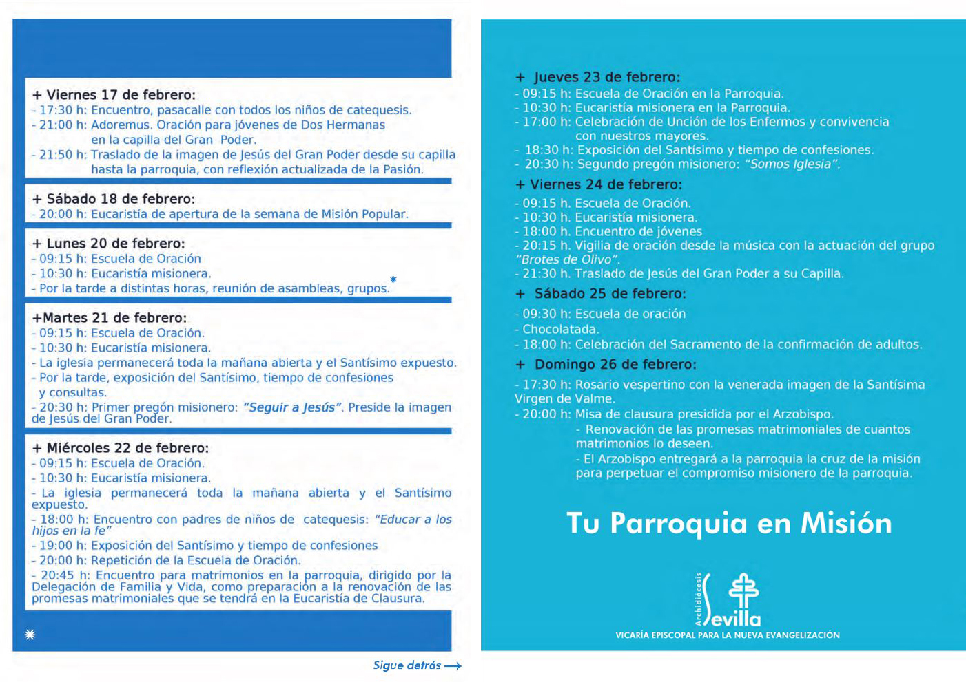 PROGRAMA DE ACTOS DE LA SEMANA DE LA MISIÓN POPULAR DE NUESTRA PARROQUIA
