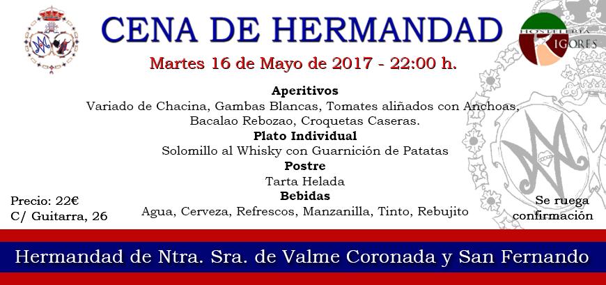 CENA DE HERMANDAD EN NUESTRA CASETA, PREVIA AL INICIO DE LA FERIA 2017