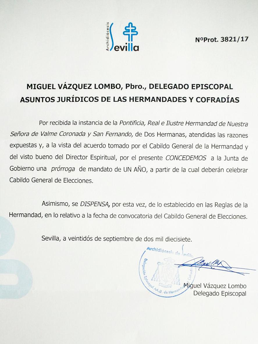 CONCEDIDA LA PRÓRROGA DEL MANDATO DE LA JUNTA DE GOBIERNO