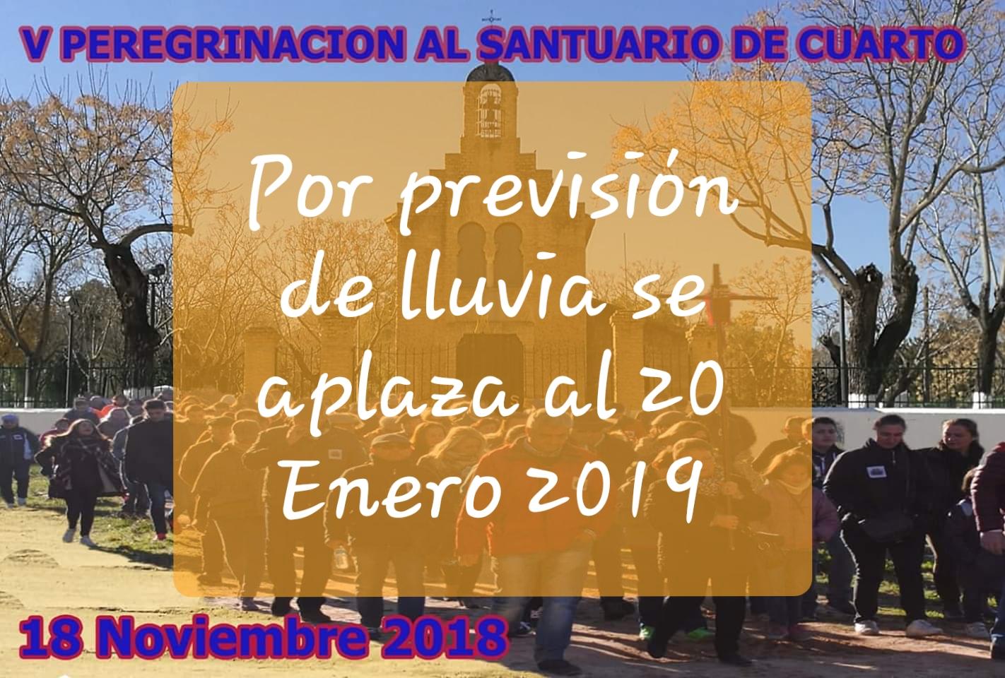 APLAZADA LA V PEREGRINACIÓN ANDANDO AL REAL SANTUARIO DE CUARTO
