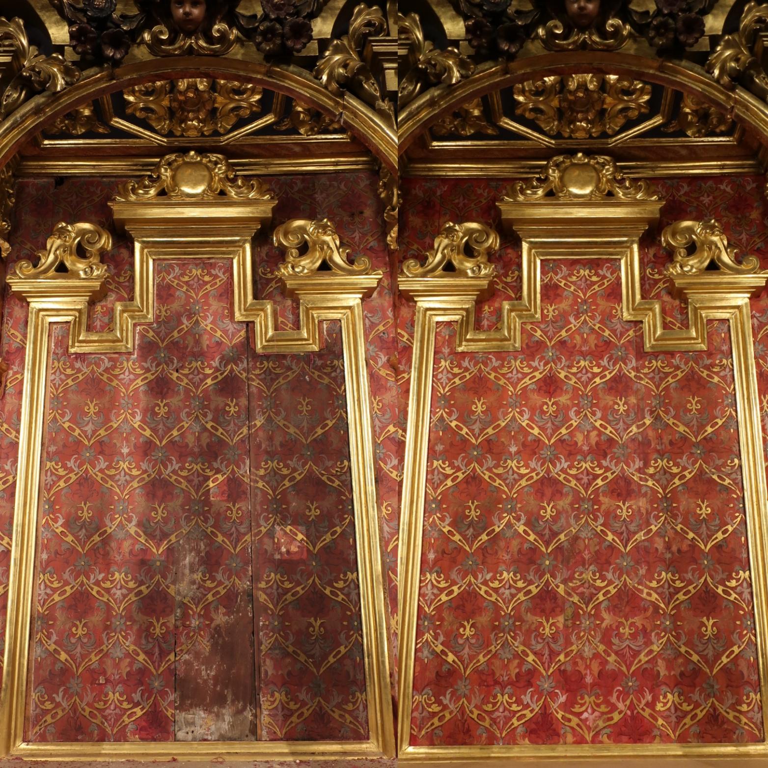 Recuperada la decoración pictórica original del camarín de la Virgen de Valme, datada en el primer tercio del siglo XVIII y que permanecía oculta desde 1950